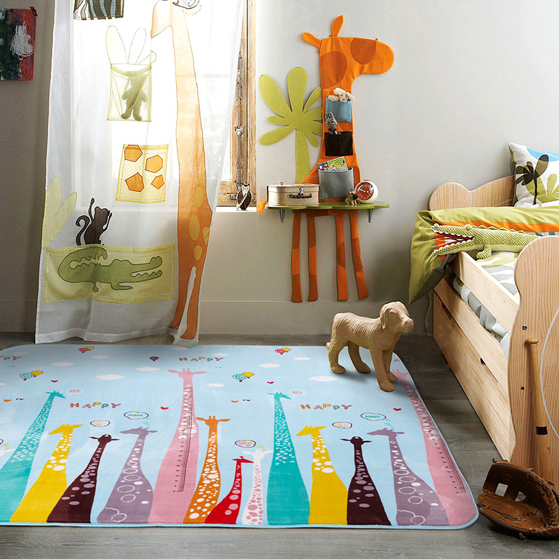 Cute Deer rug for kids Giraffe Baby Crawling Mat Gym Play Mat Carpet Kids Non-slip Soft Floor Pad Activity Mats for Kids