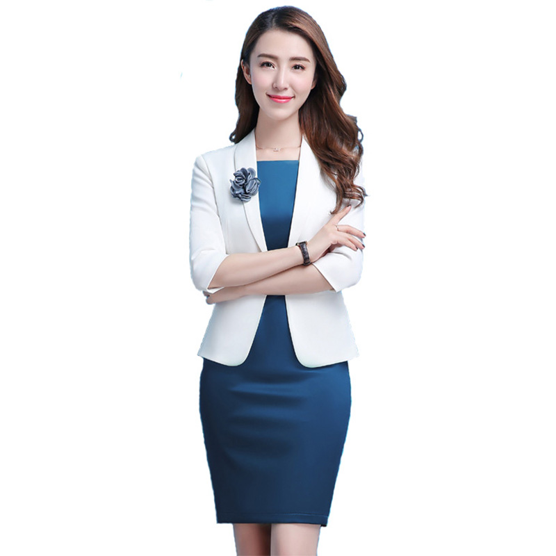 2019 Women Suits 2 Pieces Blazer Dress Elegant Temperament Full Sleeve Dress Suit Business Office Lady Work Uniform White Suit