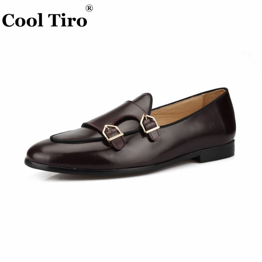 POLISHED LEATHER DOUBLE-MONK LOAFERS Brown (10)