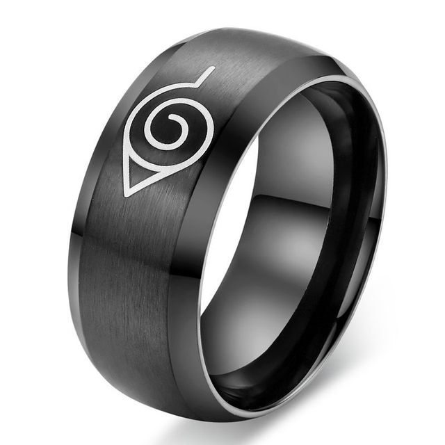 Caxybb 2016 anime naruto ring black ring for men stainless steel party accessori