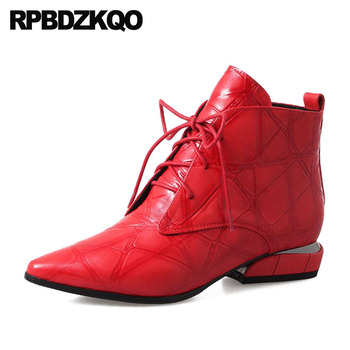 Genuine Leather Chunky Pointed Toe Winter Front Lace Up Casual Ankle Boots Autumn Shoes Red Booties Faux Fur Women British 2018