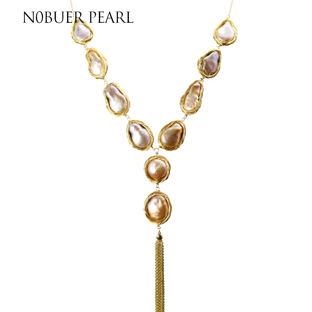 Nobuer New Natural Freshwater Baroque Button Pearl Sweater Chain Necklace For Women Orange & Purple Baroque Fine Jewelry baroque