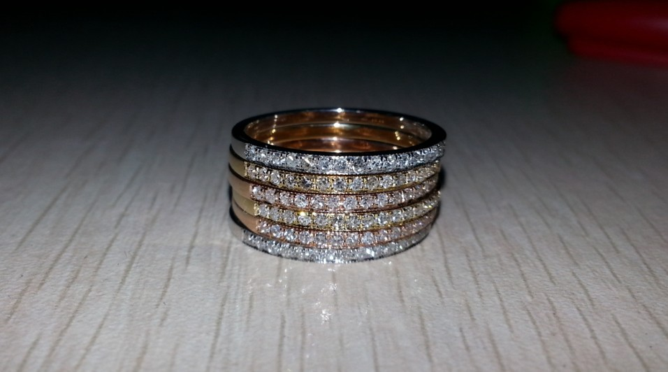 K yellow white gold real diamond wedding band infinity ring