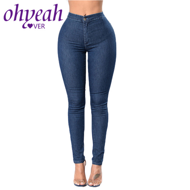 Ohyeahlover Cotton Plaid Pants Women Skinny Pencil Pants Casual Navy Blue  2XL Skinny Jeans Plus Size For Women TF2460 d33c52aa1e