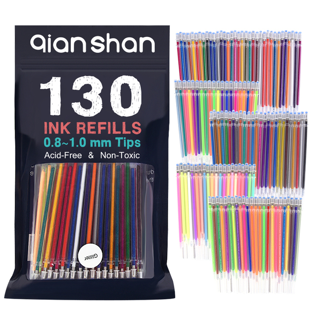 130 Gel ink Pen Refills For Adult Coloring Books Glitter Neon ...