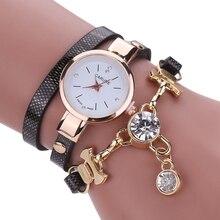 Fashion Leather  Watch Bracelet  With Rhinestones