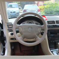 New Anti Slip White Leather Steering Wheel Stitch on Wrap Cover For Benz E240 E Class