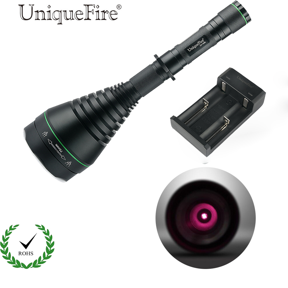 UniqueFire 1508 IR 850NM 75mm Convex Lens LED Flashlight Torch Infrared Light Night Vision Lantern+Two Slot Charger 3 Modes цена 2017
