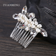 TUANMING 1PC Silver Pearl Rhinestone Small Hair Comb Trandy Hair Jewelry Tiara Headpiece Wedding Bride Women Hair Accessories