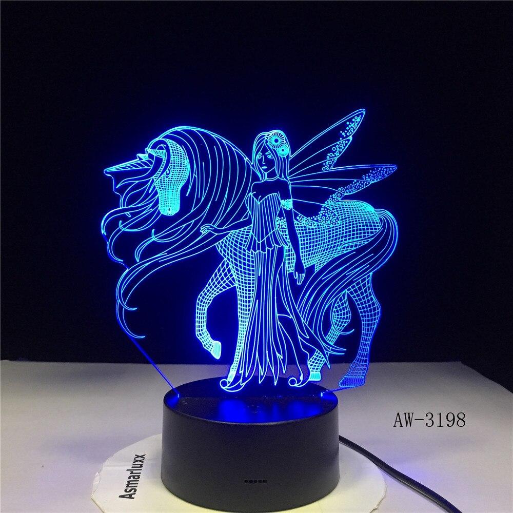 Veilleuse 3D LED pour ailes de fée licorne et fille avec 7 couleurs de lumière pour la décoration de la maison lampe de cheval 3D-3198