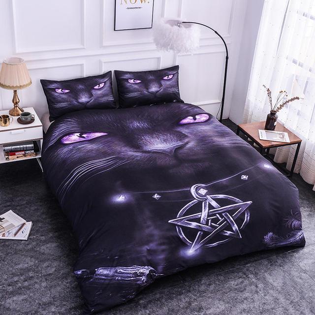 ZEIMON 3pcs Home Textiles 3D Bedding Set Europe and America Comfy Bedding Set Room Cool Cat Printing Duvet Cover Pillowcase