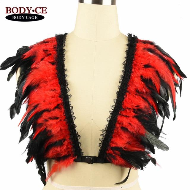 1217898723 Feather Epaulettes Bondage Shoulder Crop Body Harness cage bra Burlesque Gothic  Lingerie Festival Burning Rave Wear Angel Wings