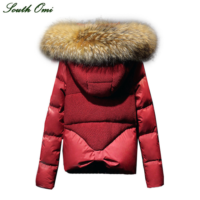 Winter White Red down Coat Women Parka thickened Fur Collar Jacket ...