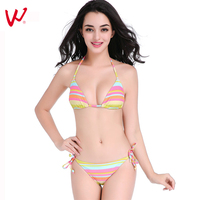 2017 New Southeast Asian Style Rainbow Stripes Bikini Push Up Female Swimwear Gather Chest Sexy Bikini Women Bathing Swim Suits