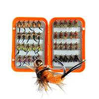 40pcs/box 8 Style Insects Fly Fishing Lures Flies Trout Lures With Waterproof Box Dry/Wet Artificial Bait For Fishing Tackle