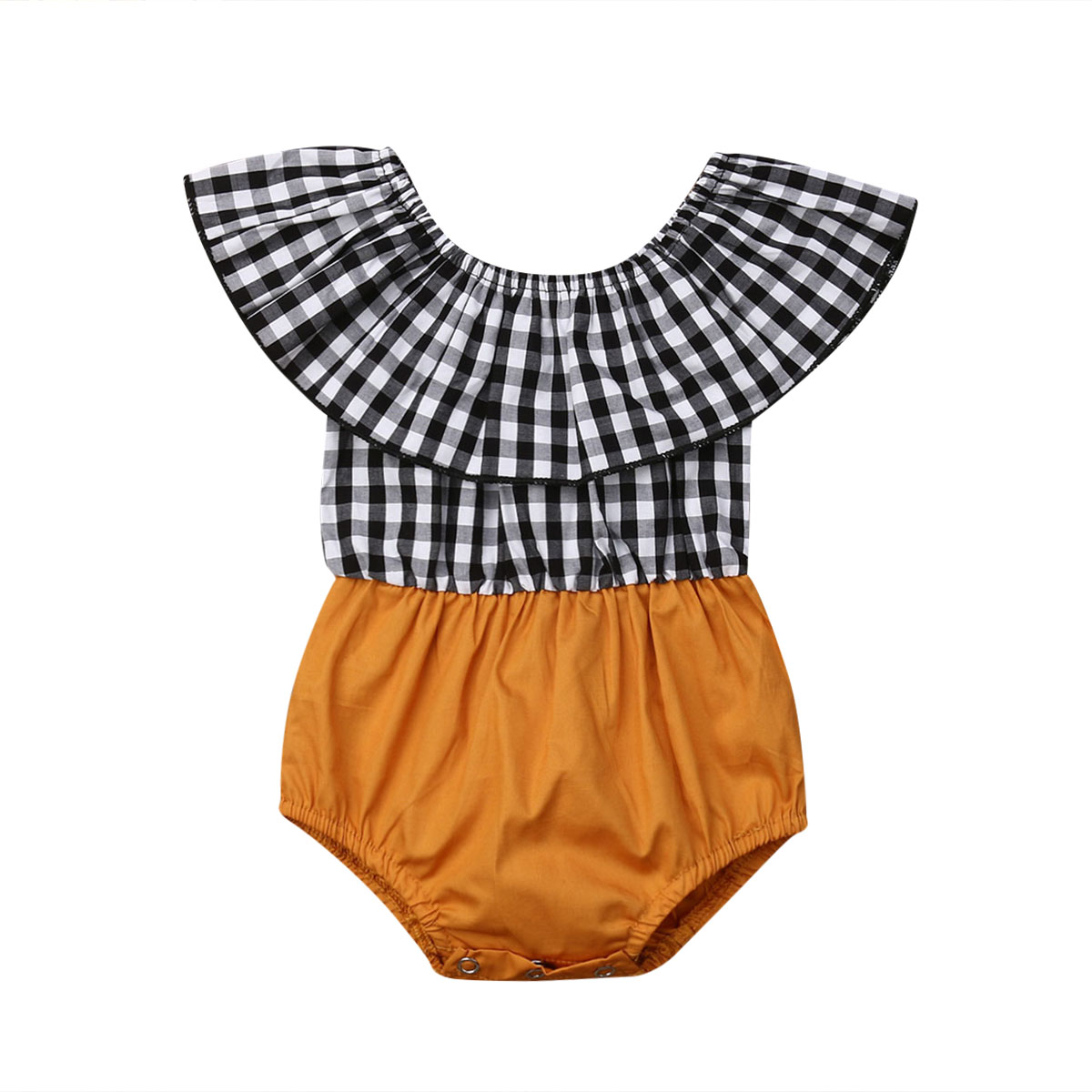 Cute Newborn Baby Girl   Romper   Off-Shoulder Gingham Black and White Plaids One Piece Jumpsuit Infant Girls Summer Clothes