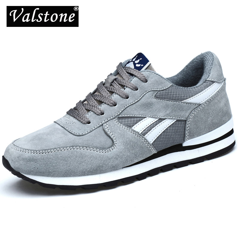 Valstone Genuine Leather Sneaker For Men Spring Casual Shoes Breathable Outdoor Walking Shoes Light Weight Rubber Sole Grey Blue