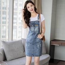 cfeaa3ff79f6000 2019 летнее Новое Женское джинсовое платье Сарафан Спагетти ремни-подтяжки  тонкое платье для девочек мини Vestidos женские джинс.