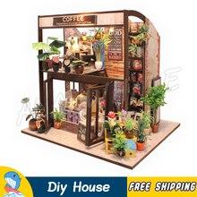 Миниатюрный Кукольный дом городской кофе бар магазин DIY деревянный кукольный домик с мебели игрушки для подростков фигурка строительные Подарки Наборы