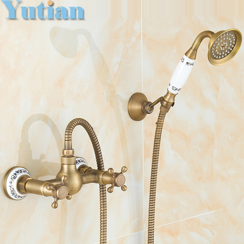 Free shipping Antique Brass Bathroom Bath Wall Mounted Hand Held Shower Head Kit Shower Faucet Sets YT-5348 antique brushed brass bathroom faucet bath faucet mixer tap wall mounted hand held shower head kit shower faucet sets hf 6656f