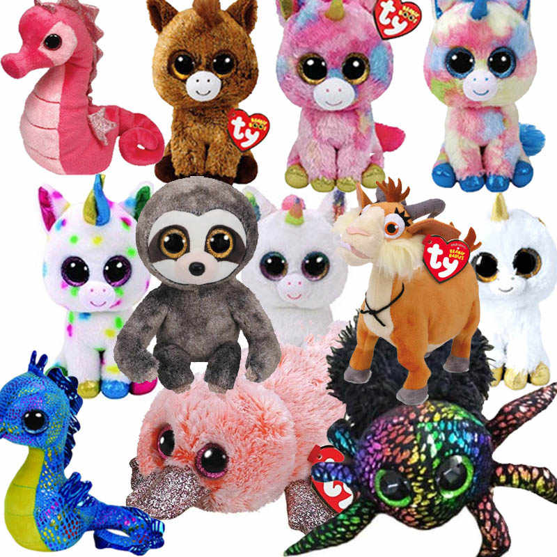 b4311ed6d26 15CM Hot Sale Ty Beanie Boos Big Eyes Unicorn Ghost Plush Toy Doll Stuffed  Animal Cute