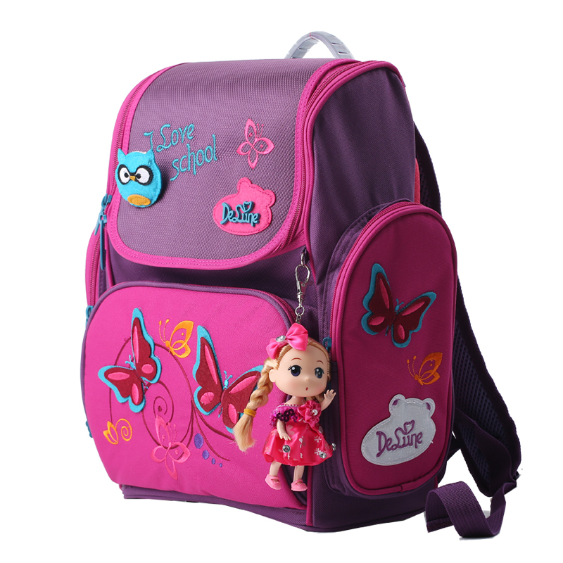 High quality brand Delune Super light 3D reflective children free Doll school bag kids students cartoon backpack girl travel bag free shipping 20pcs lot monsters university cartoon drawstring backpack bag children kids bag 34x27cm schoobag party gift