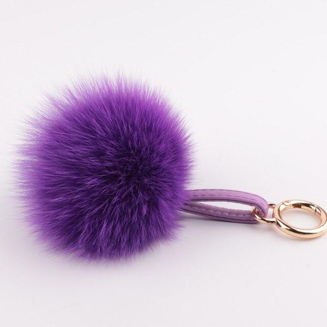 9 Colors 12cm Fluffy Fox Fur Ball Keychain Fur Pompons Keyring Llavero Pom Pom Keychain Fur Key Chains  Charm Women Bag Pendant