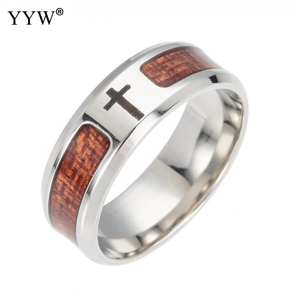 Yyw Stainless Steel Finger Ring With Wood Runes Stainless Steel Rings Mosaic Wood Semi Circle Ring Male Punk Jewelry Finger Ring in Rings from Jewelry Accessories