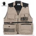 Photography Canvas Vest Men's High Quality Gotten More Tooling Waistcoat Pocket Canvas Vest  red/khaki/black L~3XL D1C