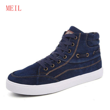 цена на New Spring/Summer Men Casual Shoes Breathable Black High-top Sneakers Lace-up Canvas Shoes 2019 Fashion Blue Men Shoes Flats