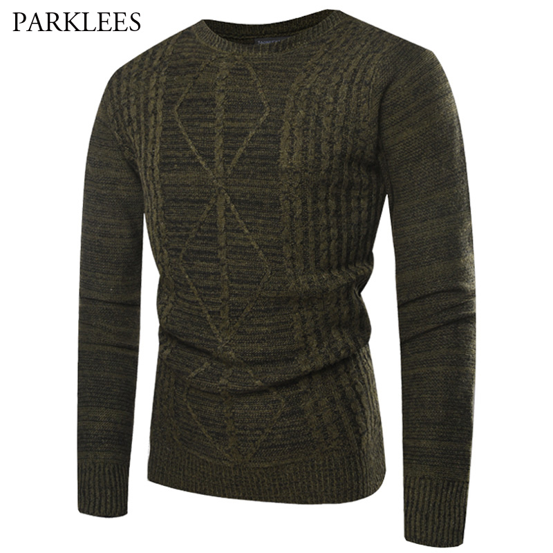 site autorisé incroyable sélection fréquent US $18.86 49% OFF Solid Diamond Sweater Men Casual Slim Fit Knitted Mens  Dress Sweaters Simple Jacquard Pull Homme Warm Green Sueter Hombre XL-in ...