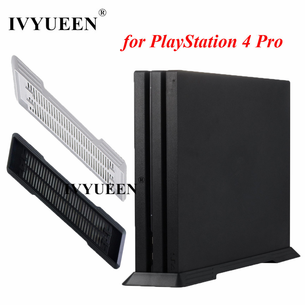 IVYUEEN Til Sony PlayStation 4 PS4 Pro-konsol Anti-Slip Lodret Stativ Dock Mount Holder Holder Game Tilbehør -Black / Hvid