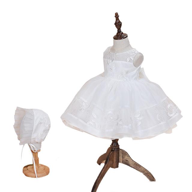 Primero Cumpleaños de La Princesa Vestido Bordado Floral Del Bebé Vestidos de Fiesta Para Las Niñas vestido Del Bautizo Del Bebé de La Muchacha Vestido de Novia Blanco