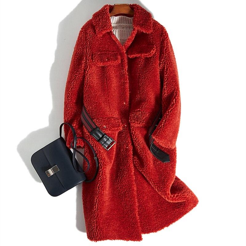 La Longue Plus Laine Manteaux Fourrure Taille Mouton Vraie Peau Solide Chaud Hiver Épais Ceinture Couleur De En Veste Y583 2018 Red Manteau Femmes Survêtement Femelle PqCx66