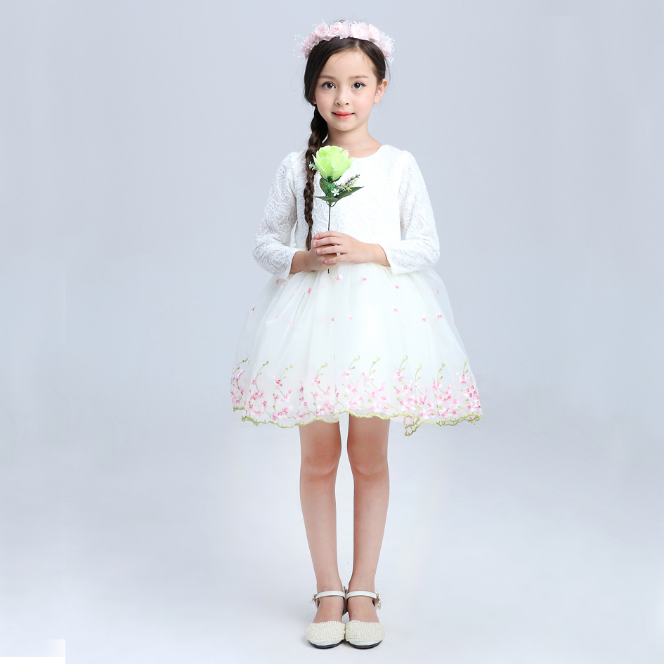 2016 embroidery flowers kids girls wedding dresses cute for Wedding dress for kid girl