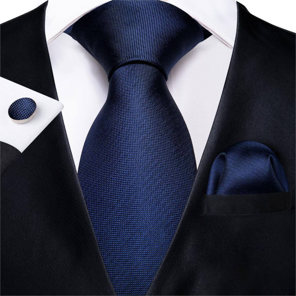 DiBanGu Top Navy Blue Solid Tie For Men 100% Silk Men's Tie Hanky Cufflinks Neck Tie Suit Business Wedding Party Tie Set MJ-7140