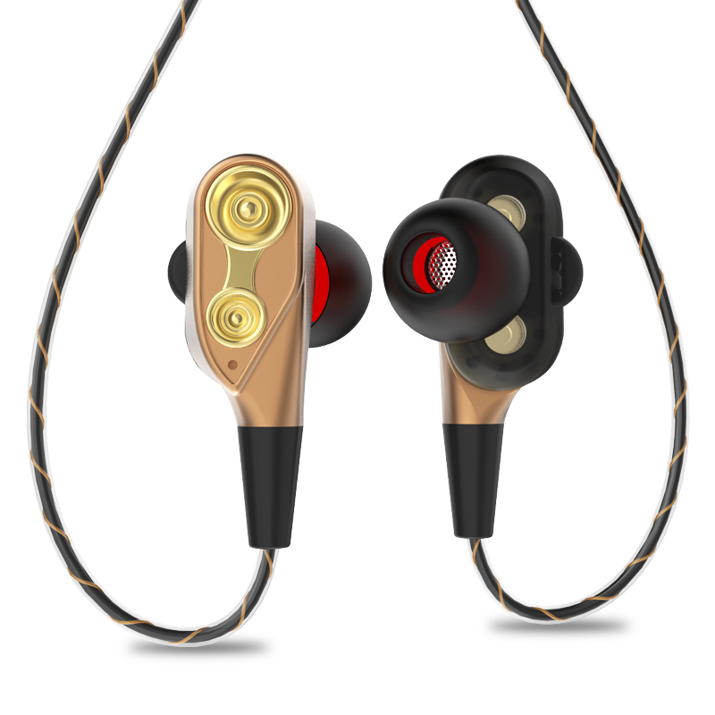 ABHU-3.5mm HiFi Wired Earphone Dual-Dynamic Quad-core Speaker In-ear earbuds Flexible Cable Anti-wrap with HD Microphone(Gold)
