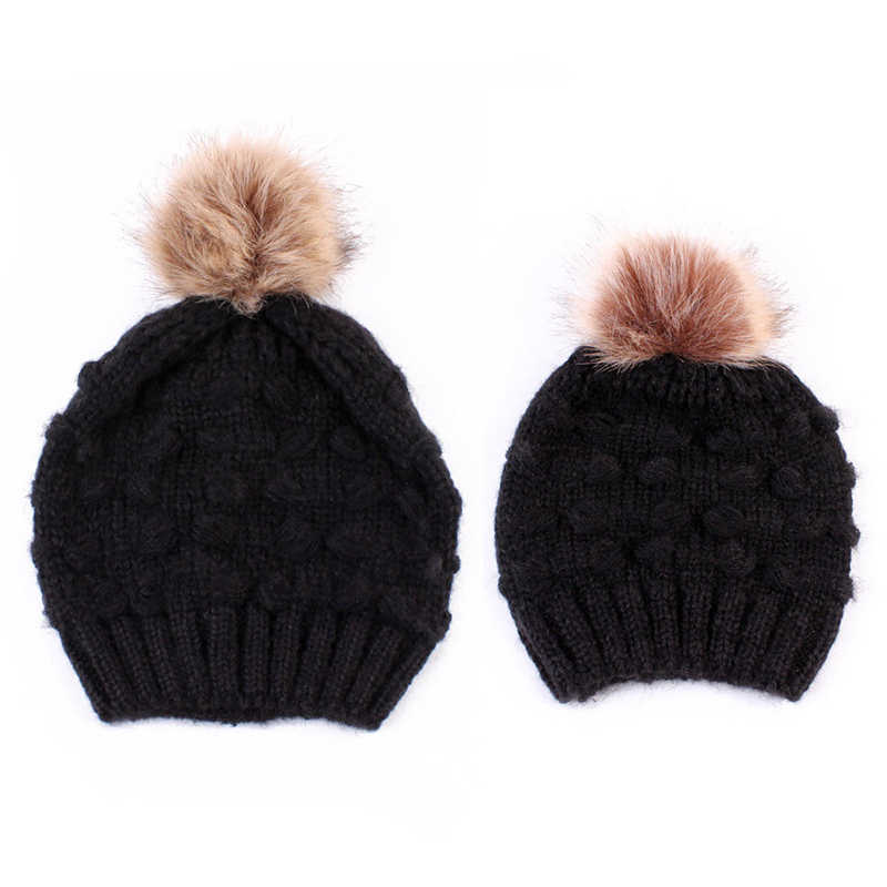 6a31964960f Winter Warm Hat Hot Sale Family Mother Daughter Hats Cute Infant Baby Boy  Girl Knitted Hat Caps Mom Baby Hats Newborn Cap Beanie