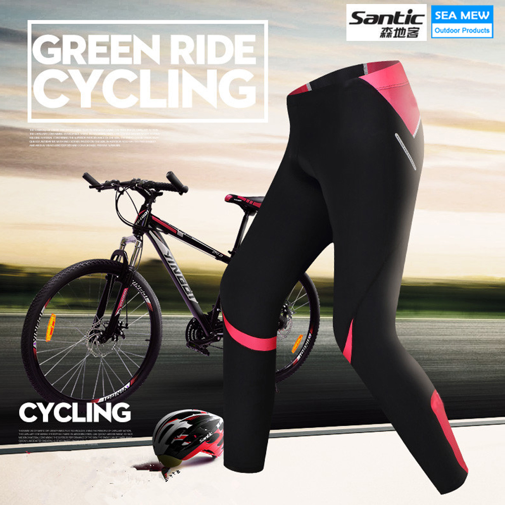 Santic Cycling Pants Long Women Outdoor Pants Bicycle Ciclismo Quick Dry Outdoor Sport Skinny Breathable Pad Trousers Cycling two tone raglan t shirt