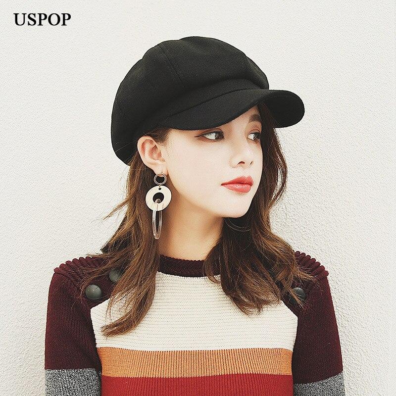 USPOP quente chapéu boina de lã das mulheres estilo Britânico retro cor  sólida tampa octogonal feminino dadde7422c9