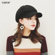 USPOP quente chapéu boina de lã das mulheres estilo Britânico retro cor  sólida tampa octogonal feminino grosso quente chapéus de. 8350ff7afc2