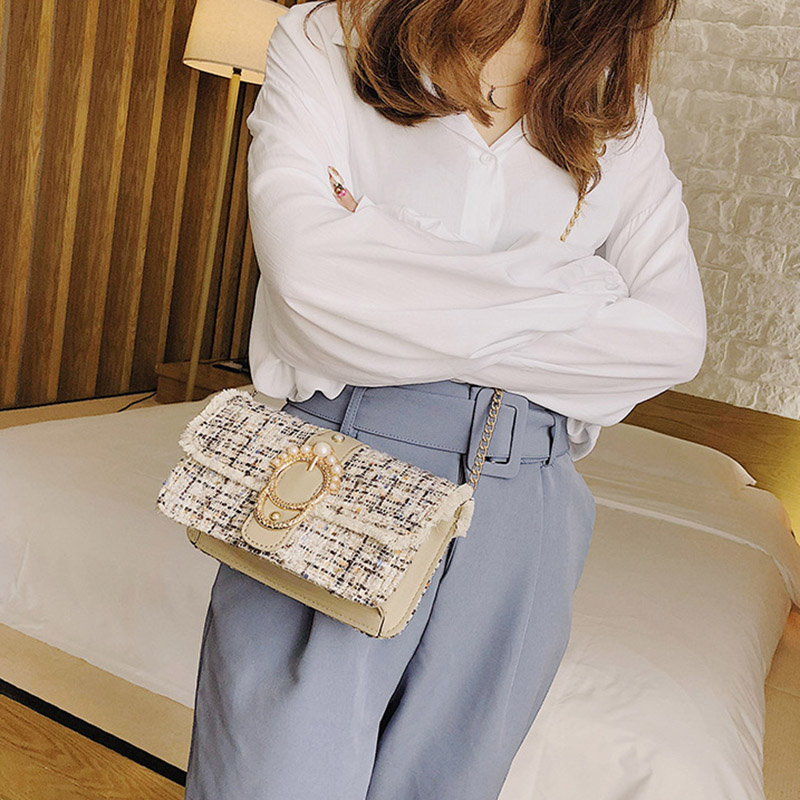 Fashion Women New Knit Flap Shoulder Bag INS Popular Casual Female Tassel Weave Handbag Mini Lady Pearl Chain Crossbody SS3458 (13)