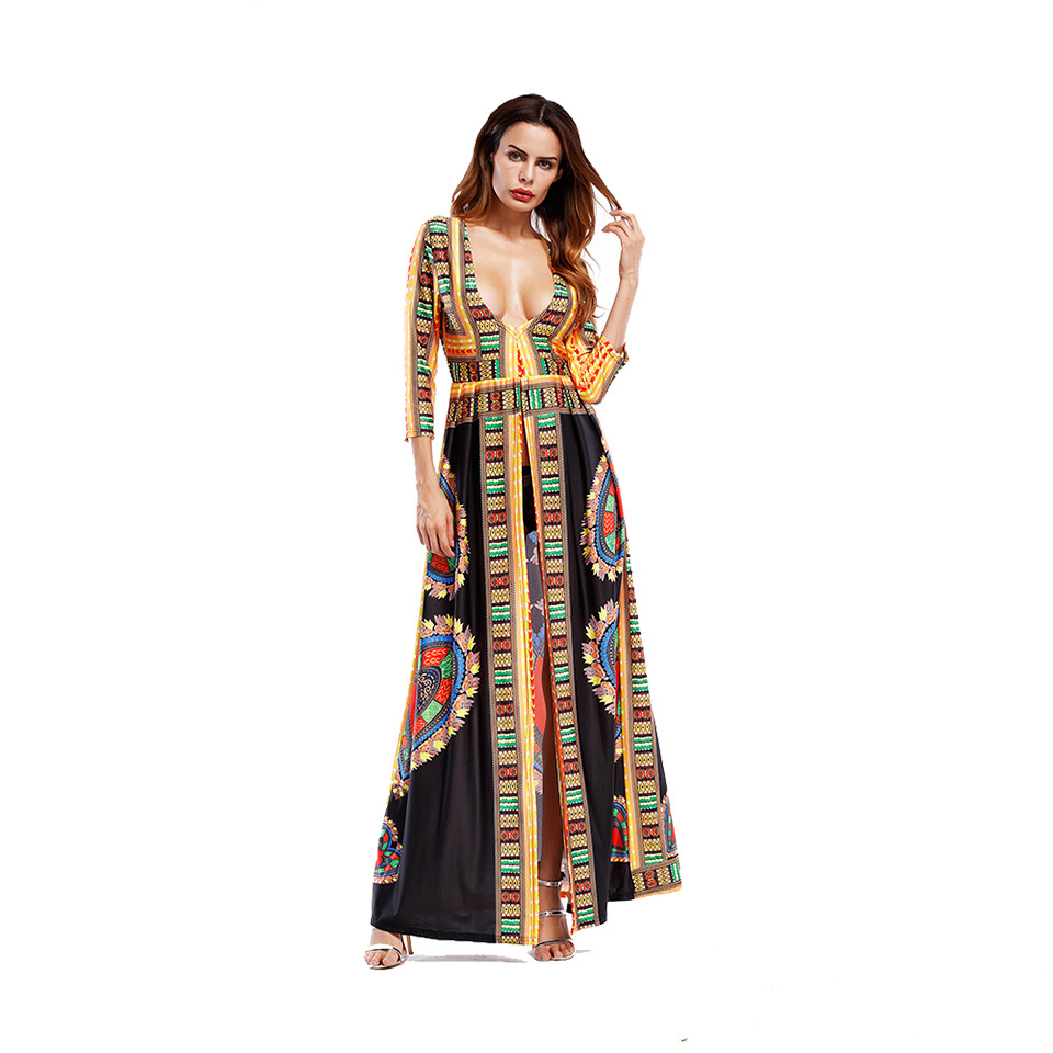 2019 Vintage split Indie Folk dress Women winter Boho print maxi dress Autumn loose party long sleeve boho sexy dress in Dresses from Women 39 s Clothing