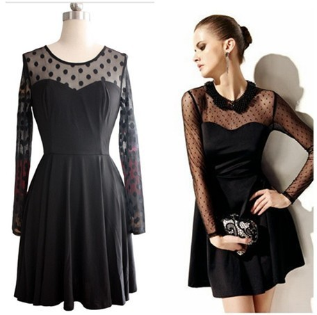 16052418b5 Fashion apparel French style women dot net long sleeve black pleated mini.  party dress free shipping
