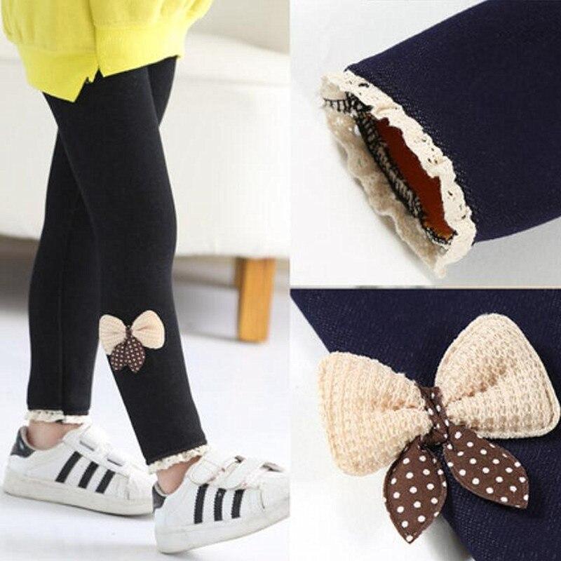 Children Winter Trousers Thick Velvet Leggings Kids baby Girl Bow Pencil Pants