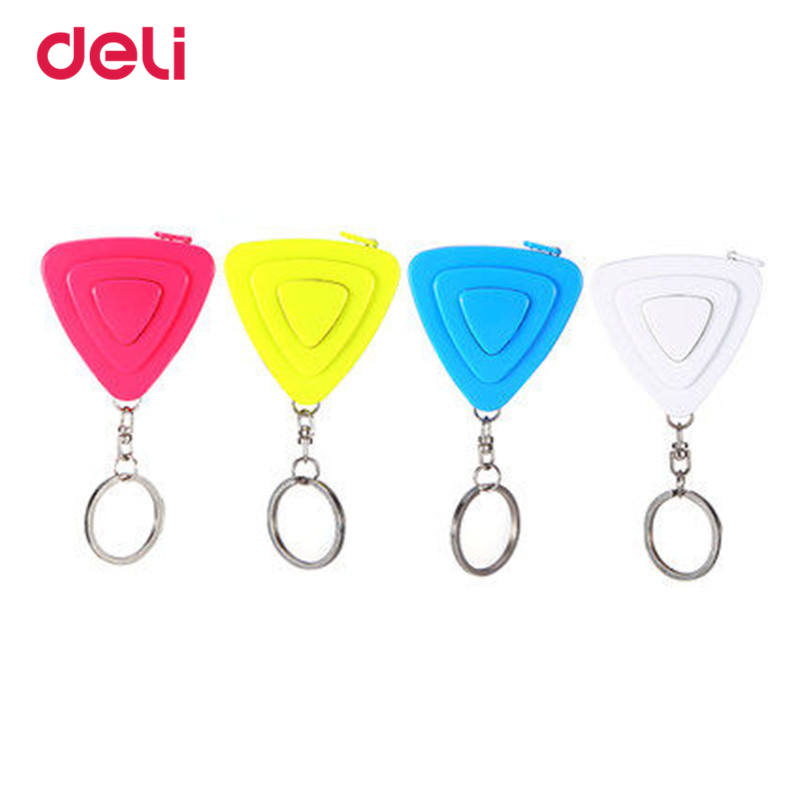Deli Mini Color Tape Measure With Key Chain Plastic Portable 1.5m Retractable Ruler Centimeter/Inch Multifunctional Tape Measure