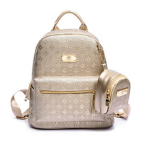 2Pcs Set Luxury New Women Fashion Backpack With Purse Bag PU Leather Embossing Rucksack Girls High
