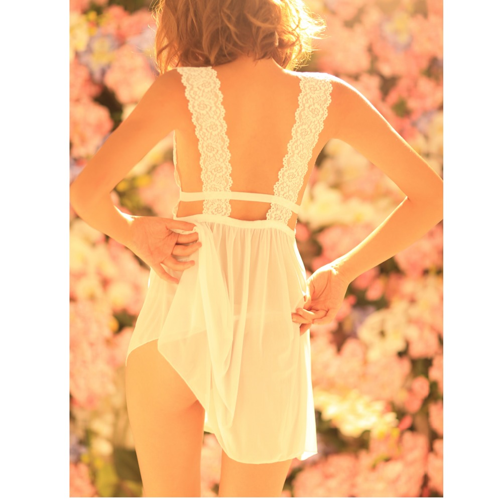 White <font><b>Sex</b></font> Sleepwear sexy lingerie hot Lace <font><b>Bikini</b></font> Set No padded Dress + T-back underwear erotic lingerie lenceria sexy costumes image