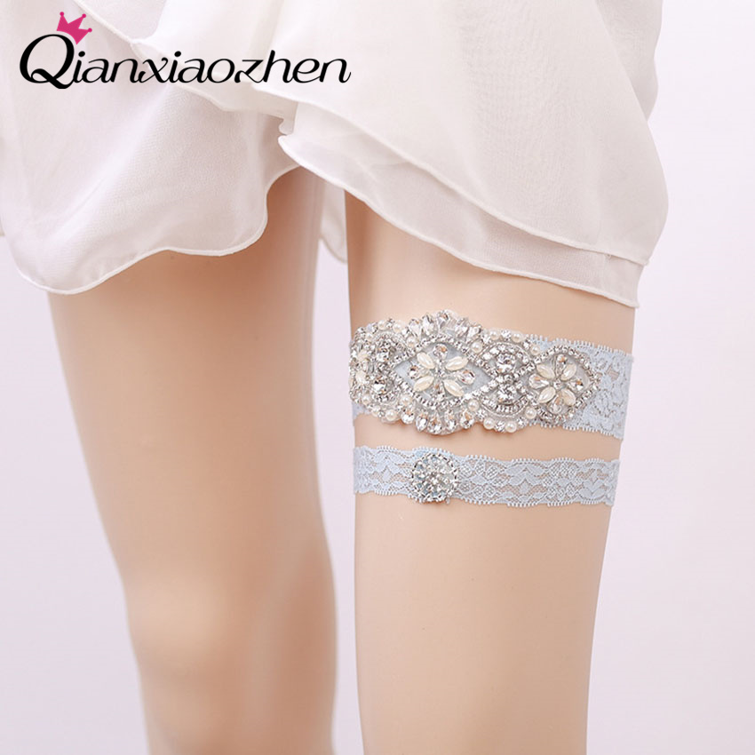 Why Two Garters For Wedding: Qianxiaozhen 2pcs/set Rhinestone Lace Leg Wedding Garter