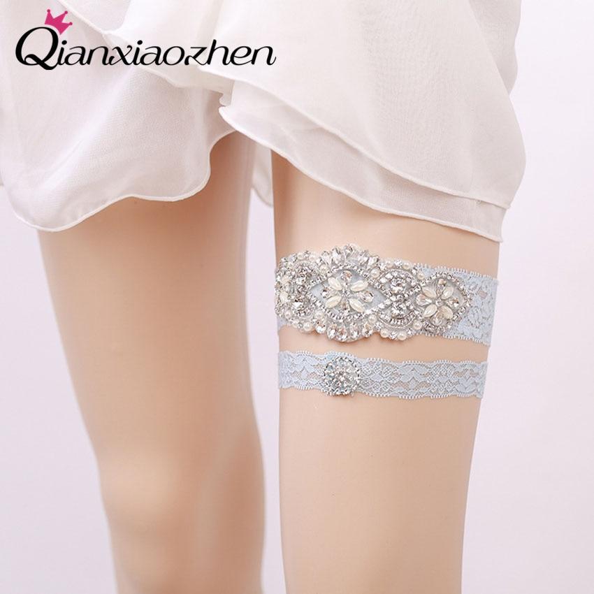 Wedding Dress Garter: Qianxiaozhen 2pcs/set Rhinestone Lace Leg Wedding Garter